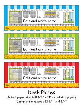 4th Grade Common Core Desk Plates Stripes Editable