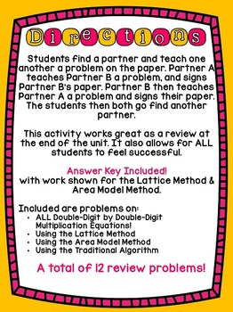 4th Grade Common Core Double-Digit Multiplication Strategies (Find a Buddy)