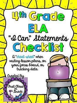 """4th Grade Common Core ELA """"I Can"""" Checklist (Ink Saver)"""