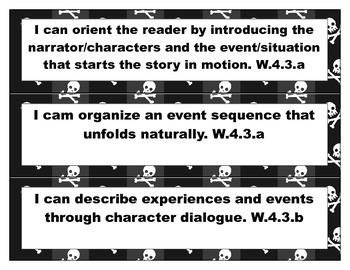 4th Grade Common Core ELA I Can Statements- Black/White/Pirate Theme