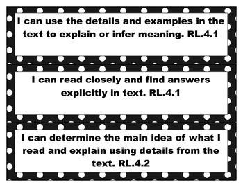 4th Grade Common Core ELA I Can Statements- Black/White/Pi