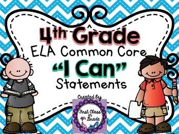 """4th Grade Common Core ELA """"I Can"""" Statements (Chevron)"""