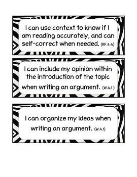 "4th Grade Common Core ELA ""I-Can""Statements"