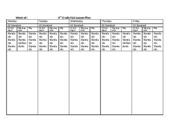 4th Grade Common Core ELA Lesson Plan Template