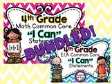 """4th Grade Common Core ELA & Math """"I Can"""" Statements (Chevron)"""