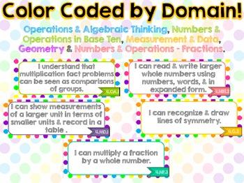 "4th Grade Common Core ELA & Math ""I Can"" Statements (Polka Dots)"