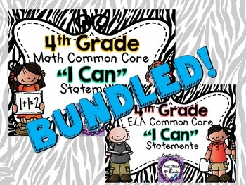 "4th Grade Common Core ELA & Math ""I Can"" Statements (Zebra)"