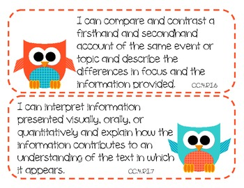 4th Grade Common Core ELA Standards - I Can Statements (OWL THEME)
