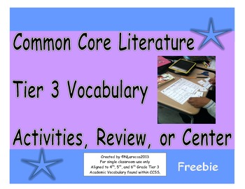 Common Core Literature Tier 3 Vocabulary Activities, Review, or Center Freebie
