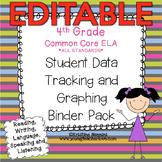 Student Data Tracking Binder | Data Graphing: 4th Grade ELA Literacy *EDITABLE*