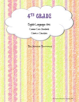 4th Grade Common Core English Language Arts Charts & Checklists