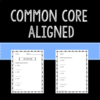 Equivalent Fractions Math Exit Slips Assessments 4th Grade Common Core