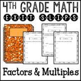 Factors and Multiples Math Exit Slips Assessments 4th Grade Common Core