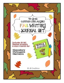 4th Grade Common Core Fall Writing Journal Set (fall themed prompts & rubric)