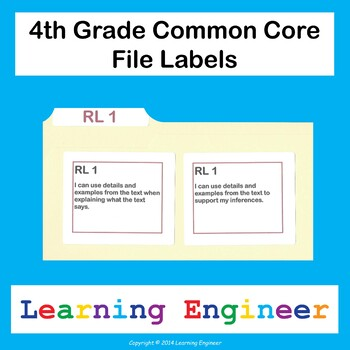 4th Grade File Labels, Common Core ELA and Math