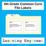 4th Grade File Labels, 4th Grade Learning Targets, File Folder Labels