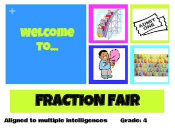 4th Grade Common Core Fraction Fair Menu