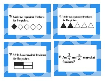 4th Grade Common Core Fractions--72 Task Cards Aligned to Envision Math