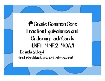 4th Grade Common Core Fractions--72 Task Cards Aligned to