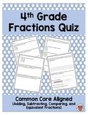 4th Grade Common Core Fractions Quiz