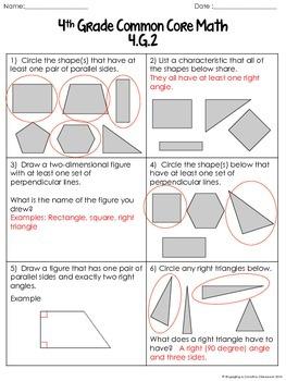 4th Grade Common Core Geometry Sheets (4.G)
