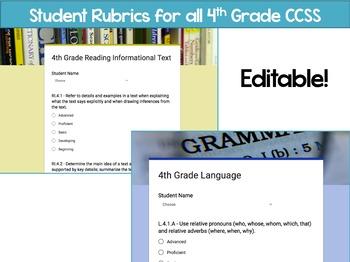 4th Grade Common Core Google Form Checklists and Student Rubrics