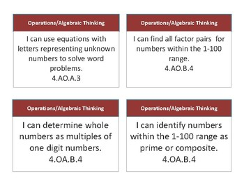 """4th Grade Common Core """"I CAN"""" Statement Cards"""