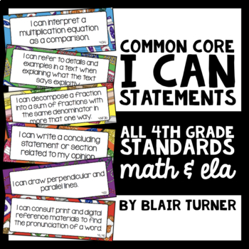 "4th Grade Common Core ""I CAN"" Statements - ELA/Math BUNDLE"