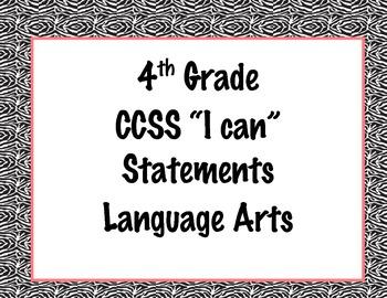 4th Grade Common Core I Can Statements {Black, White & Pink Zebra Print Theme}