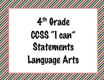 4th Grade Common Core I Can Statements {Bold Diagonal Stripes Theme}