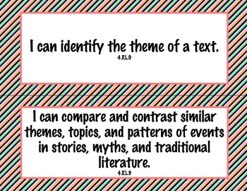 4th Grade Common Core I Can Statements {Bold Diagonal Stripes Theme}