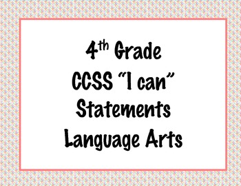 4th Grade Common Core I Can Statements {Colorful Diamond Pattern Theme}