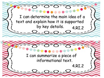 4th Grade Common Core I Can Statements (ELA and MATH)