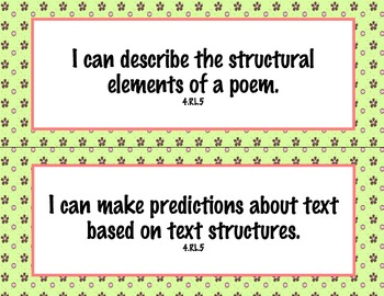 4th Grade Common Core I Can Statements {Pink & Brown Flowers Theme}