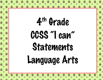 4th Grade Common Core I Can Statements {Pink & Brown Flowe