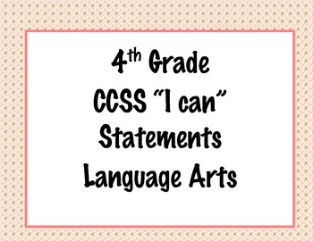 4th Grade Common Core I Can Statements {Pink & Brown Polka Dot Theme}
