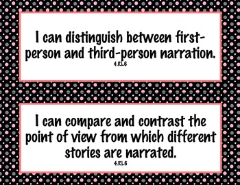 4th Grade Common Core I Can Statements {Pink, White & Gray Polka Dot Theme}