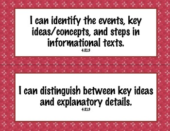 4th Grade Common Core I Can Statements {Red Swirls Theme}