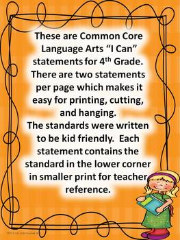 "4th Grade Common Core Language Arts ""I Can Statements"""