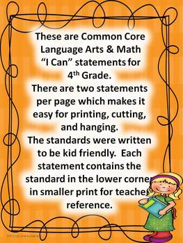 "4th Grade Common Core Language Arts and Math ""I Can Statements"" Bundled"
