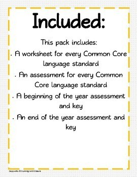 4th Grade Language standards Pack
