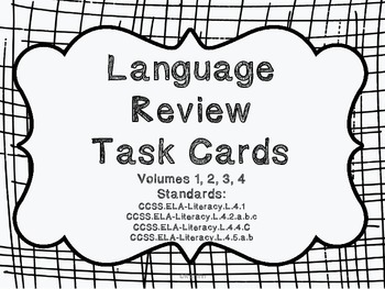 4th Grade Common Core Language Review Bundle (4 task card sets)