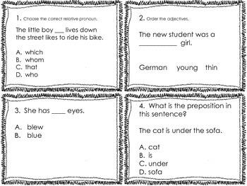4th Grade Common Core Language Review Set 1 Test Prep