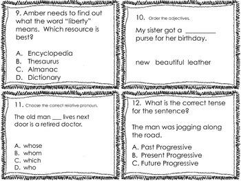 4th Grade Common Core Language Review Set 4 Test Prep