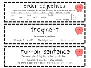 4th Grade Common Core Language/grammar Word Wall/Test Study Vocabulary Cards