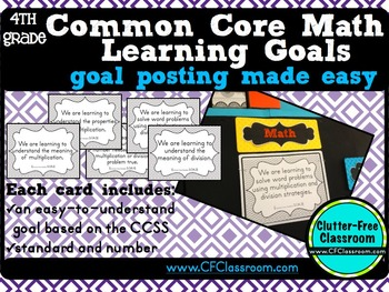 4th Grade Common Core Learning Goals {Posters, Targets, Objectives}