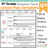 4th Grade Common Core Lesson Plan Template