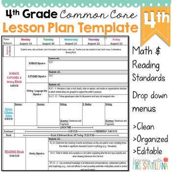 4th Grade Common Core Lesson Plan Template By Math Tech Connections