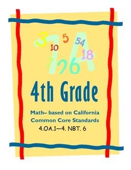 4th Grade Common Core- MATH  California Standards