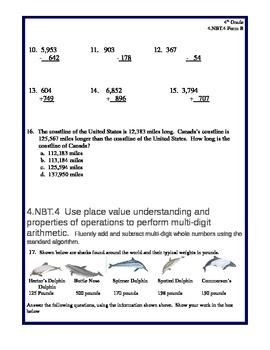 4th Grade Common Core Math 4.NBT.4 Assessment
